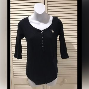 Abercrombie Kids Navy Blue 3/4 Sleeve Henley Top